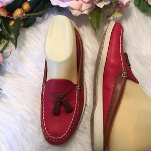 Sperry's Leather 6M Red Slides EUC